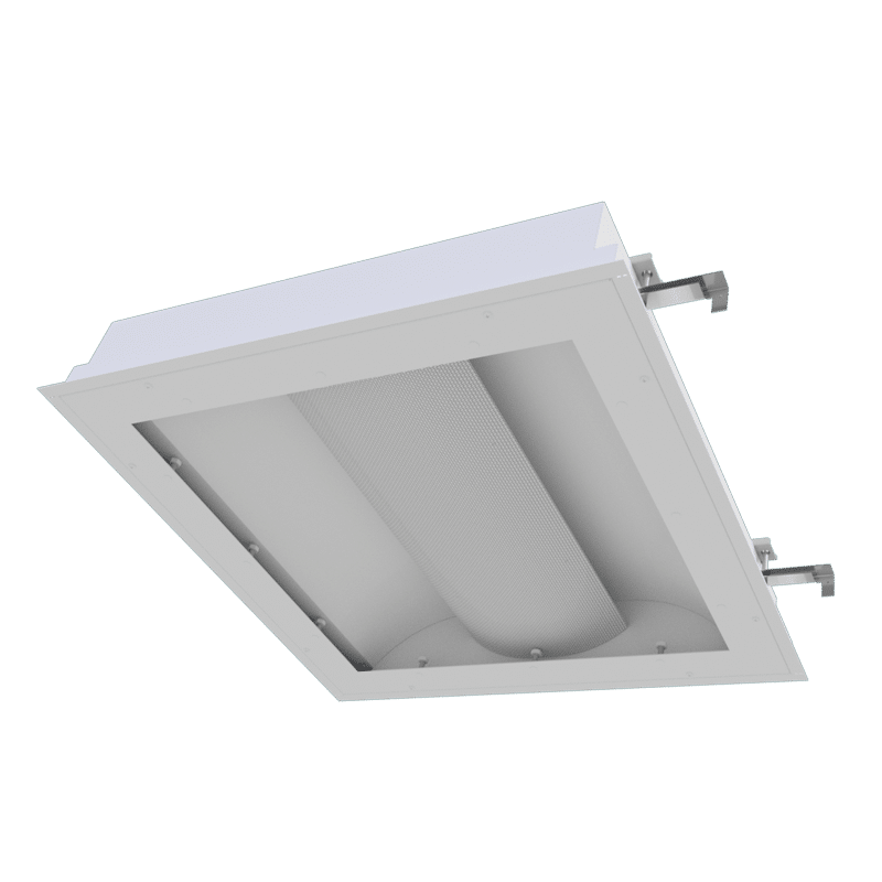 The Kurtzon TL-XB-LED is a 1x4, 2x2, and 2x4 Sealed LED Recessed Basket FIxture suitable for Cleanspaces and Wet Locations.