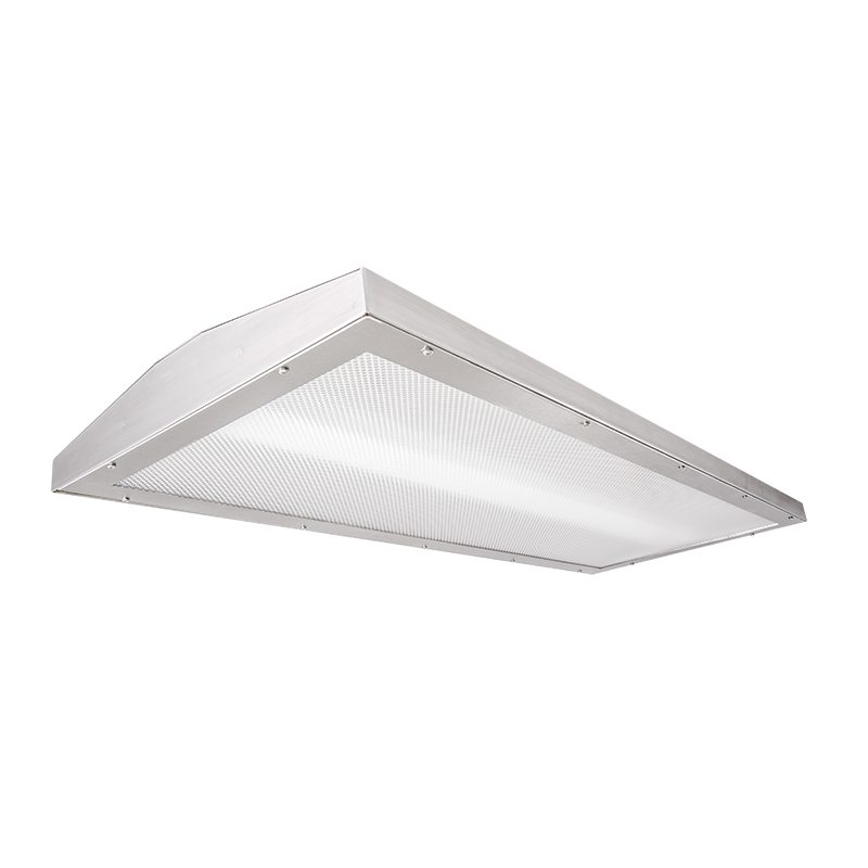 "The Kurtzon FP-HB-LED Profile Wrap is a 18"" x 46"" LED Suspended High Bay Luminaire Suitable For Use in Food Processing Applications and designed with a sloped back for water shedding."