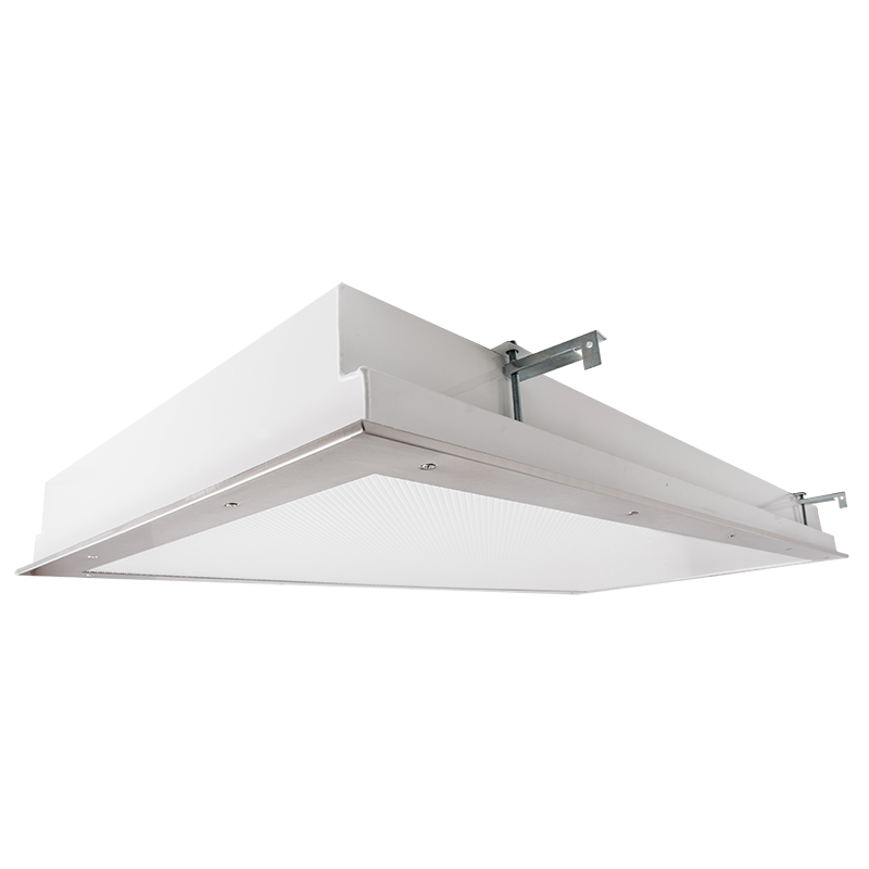 The Kurtzon KL-FG-TR-LED is a 2x4 LED Recessed Fixture with Top and Bottom Access suitable for Cleanspace and Wet Locations.