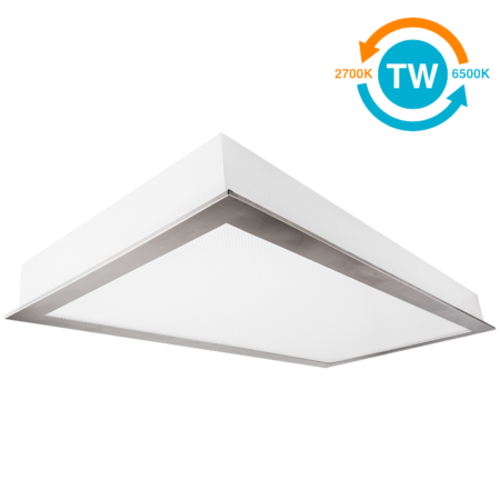 The KURTZON™ L-FGS-EZ-LED-TW is a Tunable White 1x4, 2x2 and 2x4 LED Recessed Fixture With Screwless Door Frame suitable for Cleanspaces and Wet Locations.