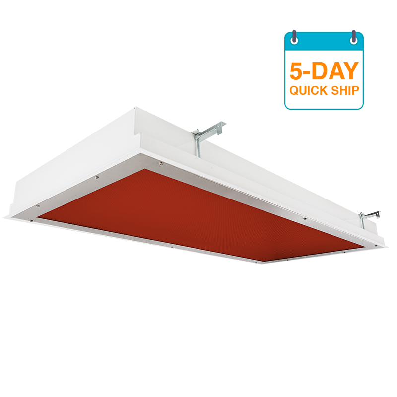 The KURTZON™ TL-R-LED-VIVARIUM-5DQS is a 2x2 and 2x4 Red/White LED Recessed Fixture suitable for Cleanspaces and Wet Locations.