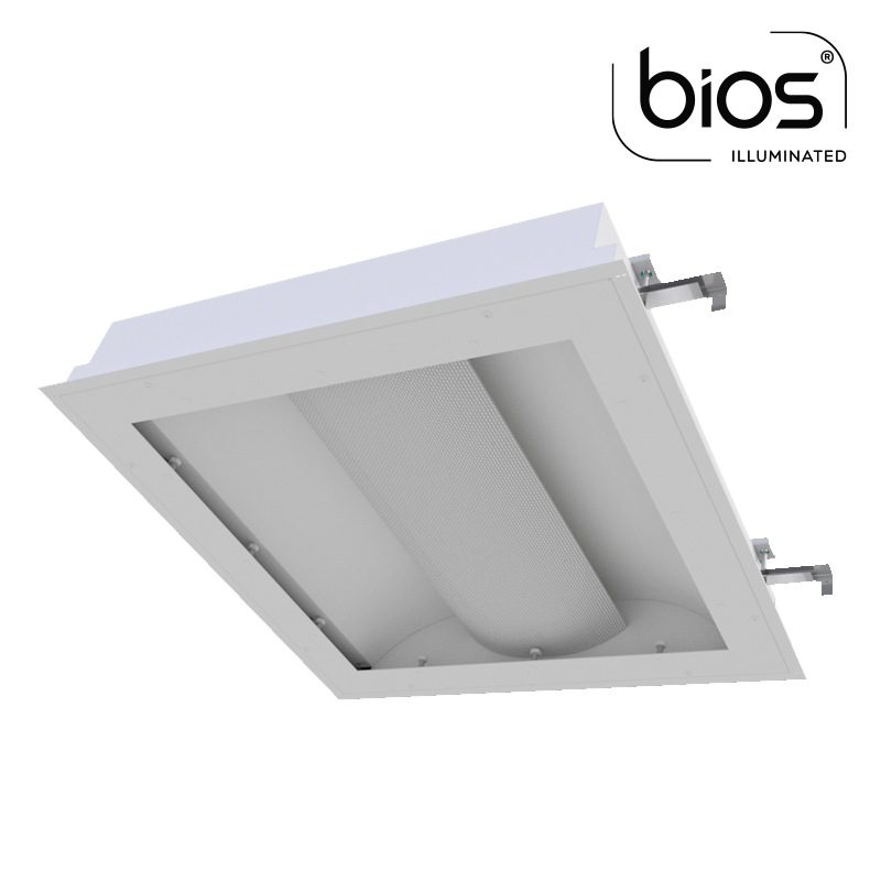 The KURTZON™ VL-XB-BH-LED-BIOS is an Anti-Ligature 2x2 and 2x4 BIOS® Recessed LED Basket Fixture for Behavioral Health Facilities .
